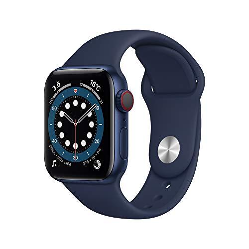 最新 AppleWatch Series 6(GPS + Cellularモデル)- 40mmブルーアルミニウムケースとディープネイビースポーツバンド