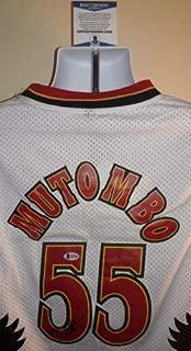 Dikembe Mutombo Atlanta Hawks Autographed Signed Adidas Jersey (Size XL) Xl Beckett Certed