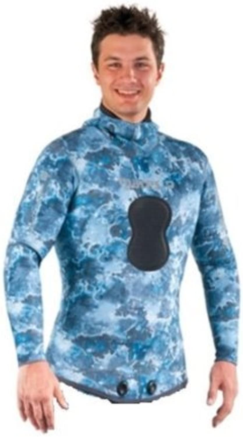 Mares Pure Instinct 3mm Spearfishing Freediving Wetsuit Jacket, blueee Camo, S7 XXLarge