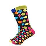WeciBor Herren Bunt Beiläufig Gemusterte Socken Gekämmte Baumwolle Lustig Neuheit Crew Socken (1 Paar Punkte)