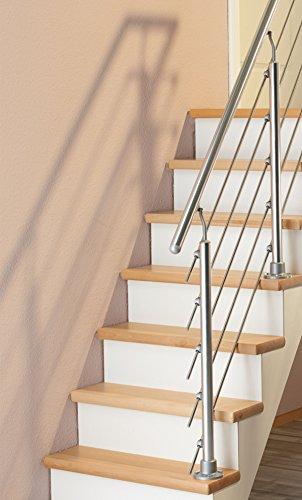 Geländer Starter-Set aus Aluminium mit 2 Pfosten | 1,20 m | mit Geländerstäben aus Edelstahl | Für aufgesetzte Montage | Als Treppengeländer oder Brüstungsgeländer im Innen- und Außenbereich geeignet