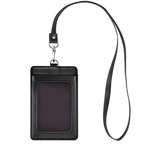 Fushing Carte d'identité verticale en cuir véritable étiquette de nom protecteur porte-badge avec lanière à col pour un événement d'école de commerce