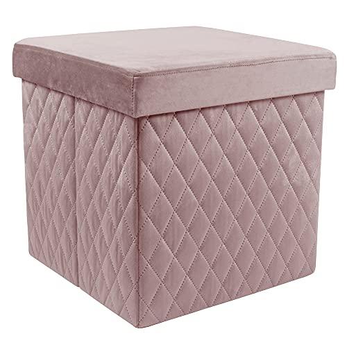 Zedelmaier Sitzhocker mit Stauraum, Fußbank Truhen Aufbewahrungsbox faltbar belastbar 38 * 38 * 38 cm (Rosa)