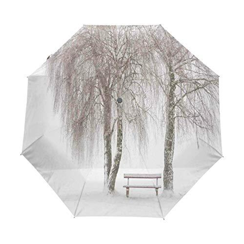DUILLY Automatischer Regenschirm zum Öffnen/Schließen,Winter Snowy Bench Der Park Print,Winddichter, wasserdichter, schnell trocknender, Leichter, kompakter, zusammenklappbarer Kleiner Sonnenschirm