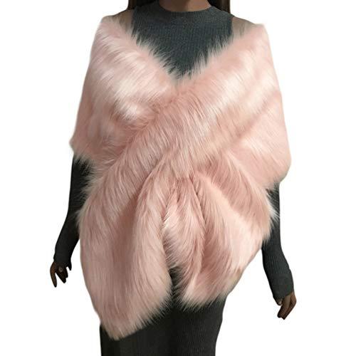 YuanDian Mujer Novia Boda Fiesta Estolas De Piel Sintetica Largo Otoño E Invierno Hombro Cruzado Grande Pelo Bolero Chal Capas para Vestido De Noche Rosa Talla única
