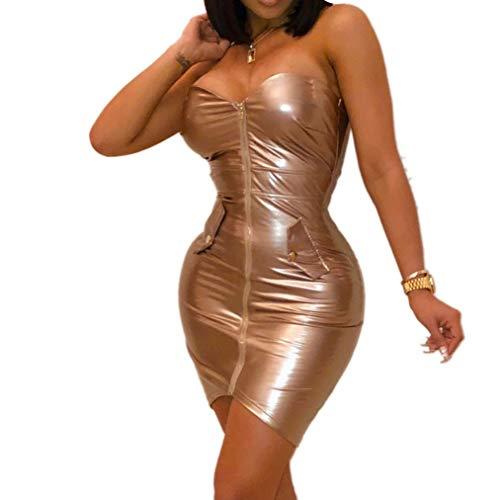 QIYUN.Z Womens Sexy sin Tirantes Fuera del Hombro Color sólido Cremallera Mini Vestido Club Party Bodycon Dress (Gold S)