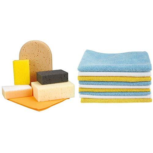 Nigrin 71414 Waschset 6-teilig & AmazonBasics Mikrofaser-Reinigungstücher, 24 Stück