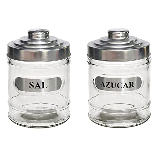 Set de 2 tarros de cristal, especiales para sal y