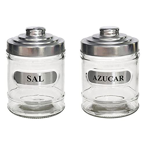 Set de 2 tarros de cristal, especiales para sal y azúcar, de 700 ml de capacidad y con medidas de 14,5 x 9,5 x 9,5 cm. Pack de 2 recipientes para almacenaje, especiales para cocina o repostería.