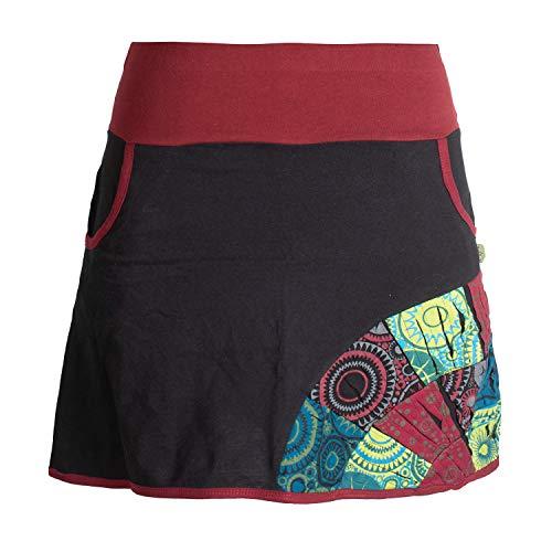 Vishes - Alternative Bekleidung - Kurzer Patchwork-Rock Baumwolle - Breiter Farbiger Bund - Taschen schwarz 44
