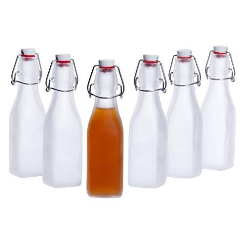 Bormioli Rocco | 6er-Set Vierkant-Bügelflaschen Swing | 250 ml | Frozen-Glas | edle Verpackung | Essig & Öl | Trink-Flaschen | Milchglas transluzent