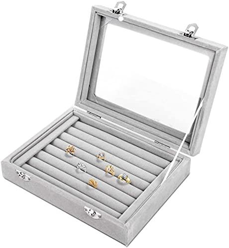 Recet Joyero de terciopelo con 7 ranuras para pendientes, anillos, pendientes, anillos, caja de almacenamiento de terciopelo, bandeja para joyas, gemelos, expositor (gris)
