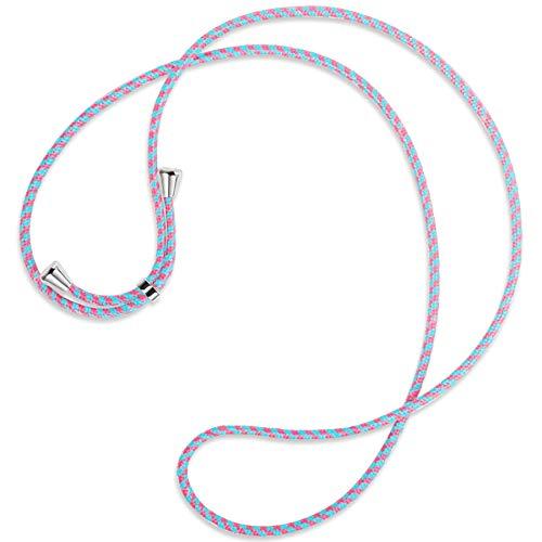 mtb more energy® Vervangend snoer voor hoesjes met koord - Roze & Munt - inclusief eindkappen (zilver) - hoge kwaliteit - Ketting Band