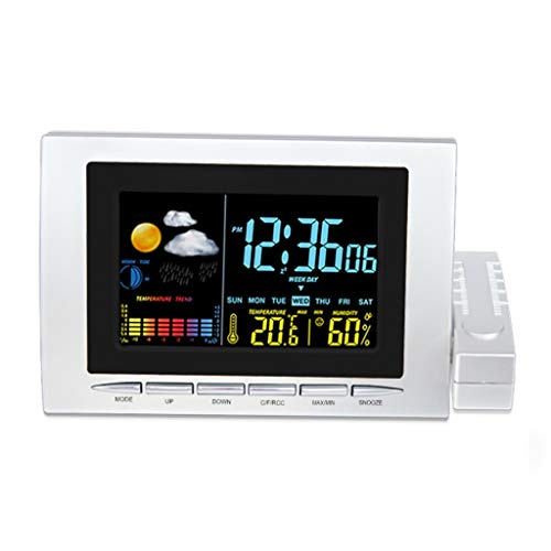 Temperatuur-hygrometer, draadloos, voor binnen en buiten, weerstation met kleurendisplay, comfortabele wekker, elektronisch, voor slaapkamer, kantoor