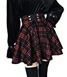 Hotmiss Women's Gothic Punk Black Red Plaid Pleated High Waisted Short A-line Flare Mini Skirt