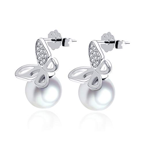 Ohrringe Schmetterling Ohrstecker mit Perle und weißen Zirkonia Steinen 925 Sterling Silber mit Rhodium oder Rosegold Veredelung inkl. 2x Ersatzverschluss