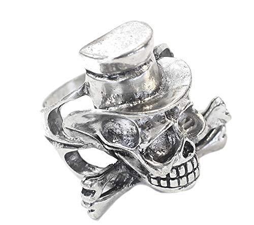 Lovelegis - Anillo de hombre con calavera y sombrero - Punk - Dark - Color plata - Talla IT 19 - Idea regalo