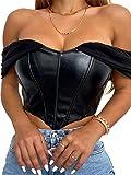 Sexy Serbatoi Camis Y2K Cuoio DELL'UNITÀ di elaborazione Corsetto Crop Top Backless Bustier Strap Camisoles Vest Bralette Tee Streetwear Partito Nero S