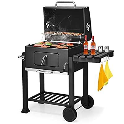ADTEST, Heavy Duty Carbon Charcoal, 3-in-1 Traditional BBQ Grill with 2 Wheels, HEA, Black