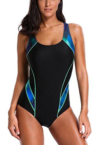 Women Athletic one Piece Swimsuits Padded Sport Swimwear Racerback Bathing Suit Green/Black