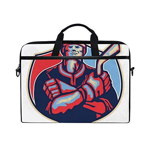 VICAFUCI New 15-15.4 Zoll Laptop Tasche,Umhängetasche,Handtasche,Illustration eines Eishockey-Spielers, der Stock-Retrostil hält
