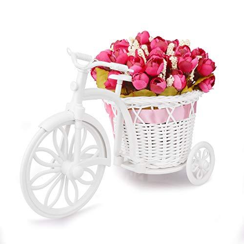 Takefuns Garden - Soporte para plantas, diseño de bicicleta decorativa (ideal para decoración de hogar o de jardín), plástico, rosa (b), Small