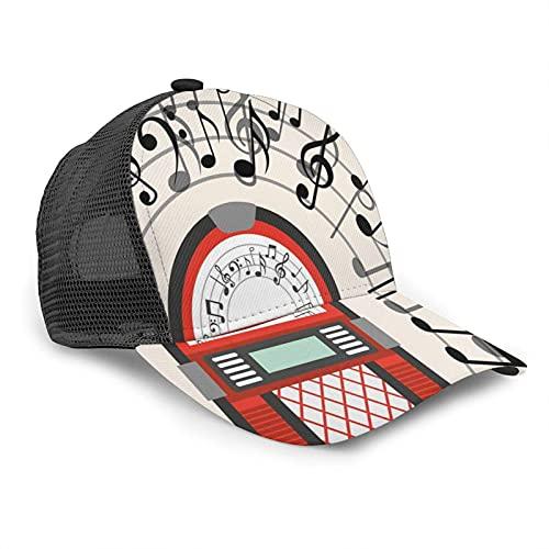 Yearinspace Unisex Baseball Cap Jukebox Old Vintage Radio Musik Noten Caps Trucker Hut Sommer Sonne Sport Outdoor Snapback Hüte Schwarz