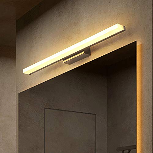 9W LED Espejo Luz Delantera - Resistente Agua Baño Lámpara Acrílico Pantalla Maquillaje Vanity Luces Inoxidable Base Acero Aplique Pared Gabinete Higiénico Iluminación Blanco Cálido