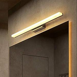 9W LED Espejo Luz Delantera – Resistente Agua Baño Lámpara Acrílico Pantalla Maquillaje Vanity Luces Inoxidable Base…