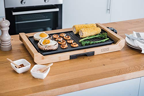 FiNeWaY 2 in 1 Electric Teppanyaki Grill Hotplate Griddle Non Stick With Drip Tray Tabletop – Die Cast Ceramic Coating – Delicious Breakfast BBQ Barbeque With Bamboo Rack