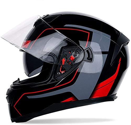 Casco Integral para Motocicleta, Four Seasons Casco Integral para Motocicleta con Visera...
