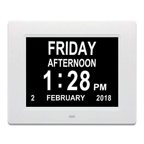 Catekro Digitale elektronische klok, wekker, 8 inch/20,3 cm, weekkalender, afstandsbediening, klok met visuele dementie