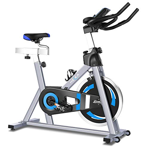 heka Indoor Cycling Bike Exercise Bike, Silent Belt Drive Fitness Indoor Home Gym Cycling Bike with Adjustable Resistance, LCD Monitor, Comfortable Seat Cushion and App for Home Cardio Workout (Grey)
