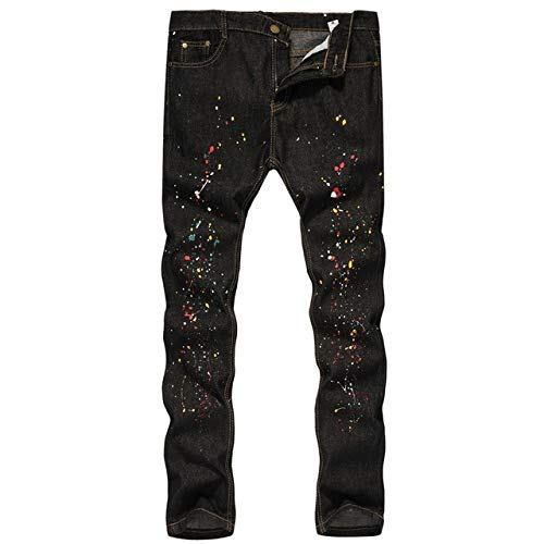 LoeayJeans Ajustados para Hombres Pantalones elásticos elásticos para Hombres Tinta a Base de Aceite Pintura Casual Graffiti Lápiz Pantalones para Hombres Hip Hop Fashion Jeans