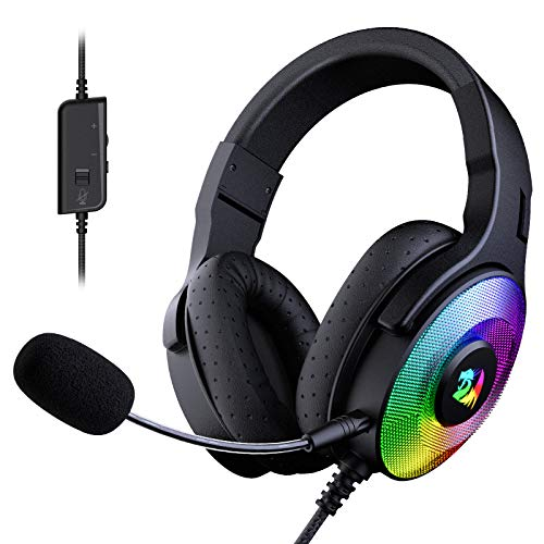 Redragon H350 Pandora RGB Wired Gaming Headset, Dynamic RGB Backlight - Stereo Surround-Sound - 50MM Drivers - Detachable Microphone, Over-Ear Headphones Works for PC/PS4/XBOX One/NS