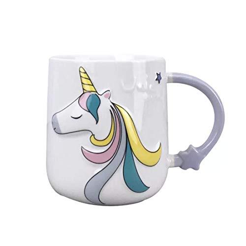 Taza de unicornio de cerámica 3D con patrón de dibujos animados pintados a mano Taza de té...