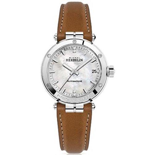 Michel Herbelin 1658/89GO - Reloj para mujer con índice de diamantes, movimiento automático, fecha, cristal de zafiro resistente a los arañazos, esfera nácar, diámetro 35 mm