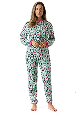Just Love Printed Flannel Adult Onesie/Pajamas, Panda Love, Small from