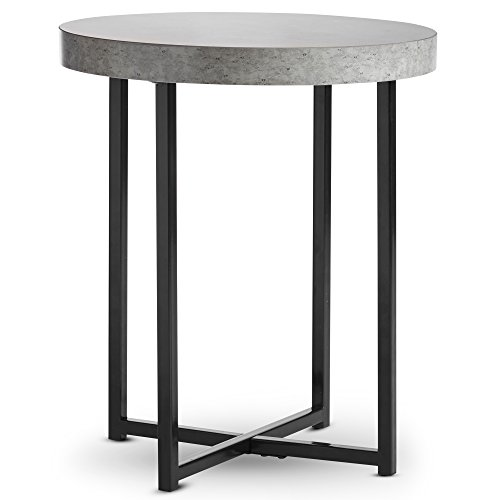 VonHaus Grey Side Table - Concrete Effect Round Side Table Living Room with Black Metal Legs, Small Multipurpose Sofa End Table, Also For Bedroom, Hallway, Coffee