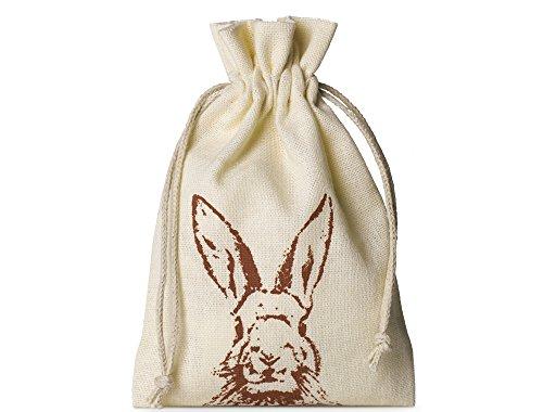 10 bolsitas de algodón con motivo de conejo y cordón, tamaño 15x10 cm, bolsa de algodón, bolsa de regalo para pascua (crema)