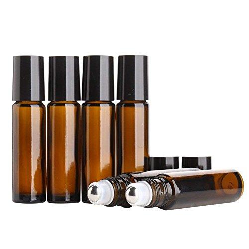 MINGZE Mingze 8 stück 10ml glasflaschen glasroller für ätherische Öle braunglasflaschen bernstein glas rolle flaschen mit edelstahl metall ball aromatherapie parfum roller ball flasche für flüssigkeit