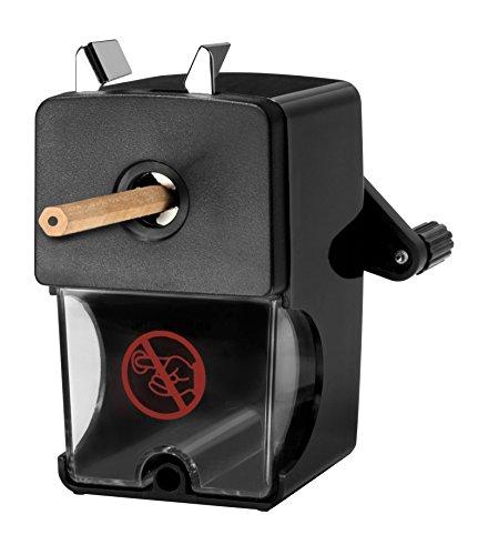 WESTCOTT Anspitzer, Manuelle Spitzmaschine mit Auffangbehälter für Stifte von 7-12 mm, schwarz,...