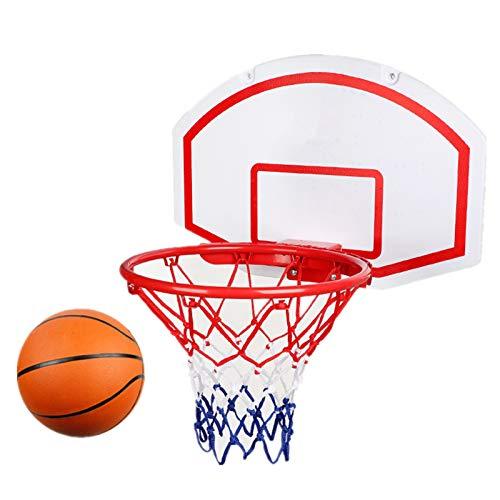 SYHSZ Tablero De Baloncesto para Niños, Mini Tablero De Aro De Baloncesto Colgante con Red, Pelota Y Bomba De Aire, Marco De Hierro Reforzado Y Cuerda De Nailon Resistente,Blanco