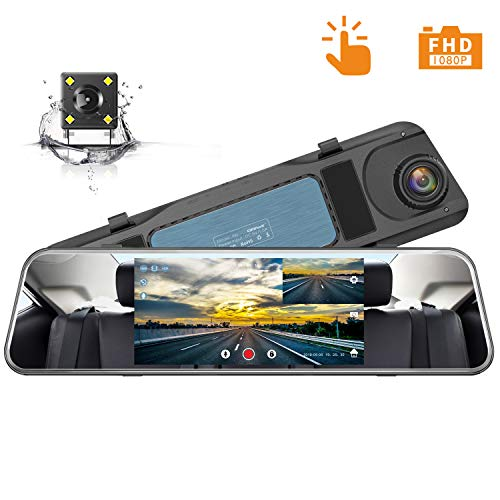 Campark Backup Camera 1080P Mirror Dash Cam 5 inch Touch Screen Rearview Front and Rear Dual Lens Dashboard Recorder with Waterproof Reversing Camera