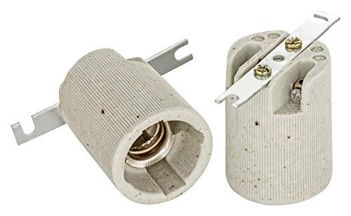 E14 Keramik Fassung mit Befestigungsbügel von ISOLATECH; (hier: 2 Stück)