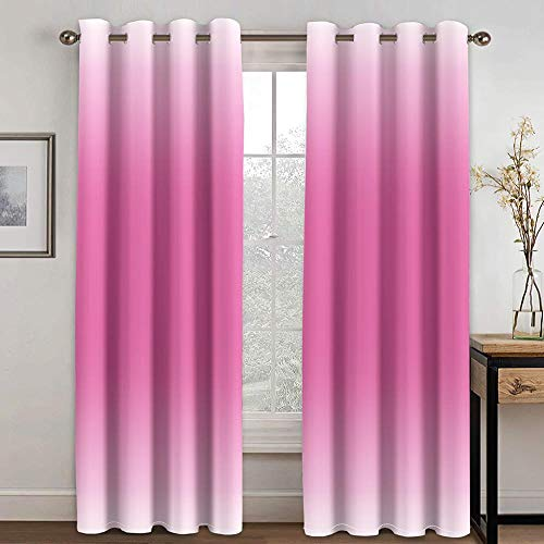 ZXDYLY Curtains Blackout 33x54 Inch 2 Panels Eyelet Curtains for Livingroom, Printed Curtain Room Darkening Bedroom, Grommet Panel Kitchen Window Curtain, Pink