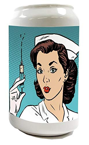 Spardose Sparbüchse Geld-Dose Wiederverschließbar Farbe Weiß Retro Krankenschwester Keramik Bedruckt