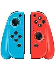 CHEREEKI Controller per Nintendo Switch, Controller Wireless di Ricambio Sinistro e Destro per Joy-con con Doppio Shock e Funzione Giroscopio