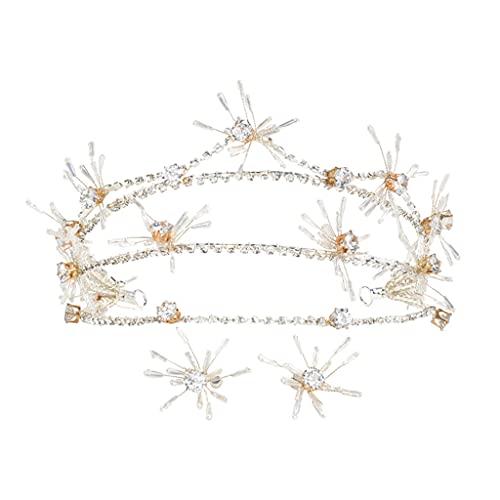 JJZXD Diadema con Corona de Diamantes de imitación de Moda, Hermosas Tiaras y Coronas, Adornos de Boda, Accesorios de joyería para el Cabello Nupcial