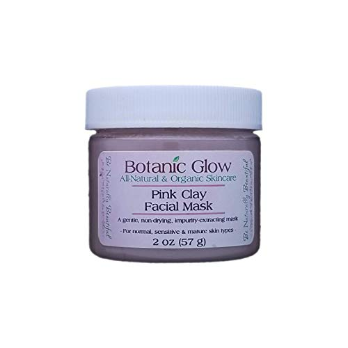 Botanic Glow French Pink Clay Facial Mask 2 oz - All-Natural Gentle Hydrating Face Clay Mask for Acne, Oily, Mature, Sensitive and Dry Skin